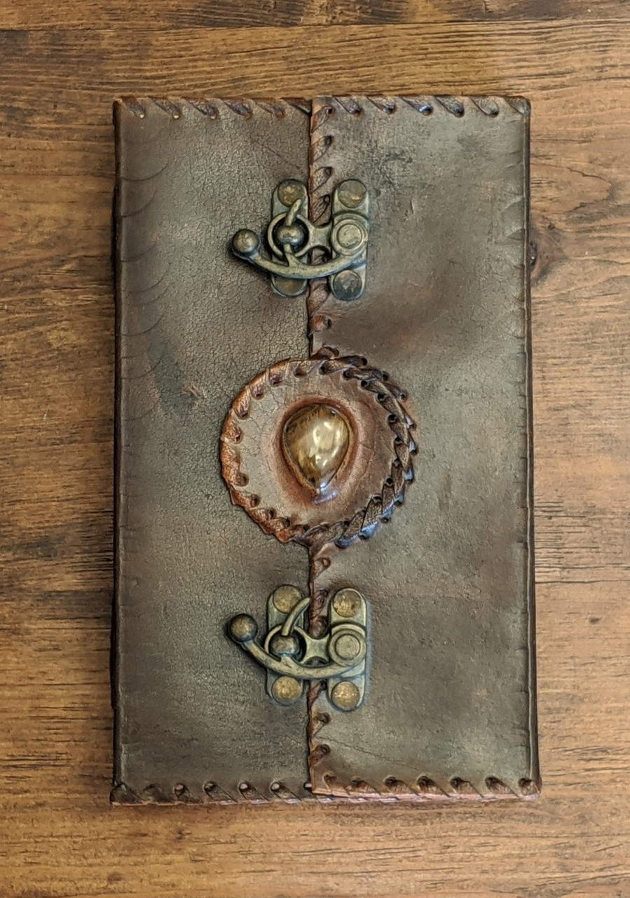 Leather Journal with Metal Clasps & Semi Precious Stone