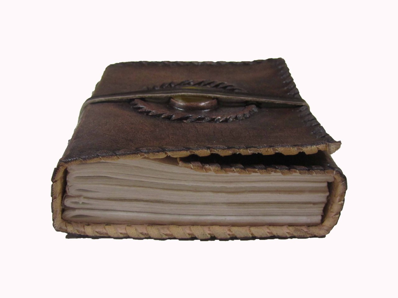 stitched leather journal with yellow stone centre piece embedding into cover - paper view