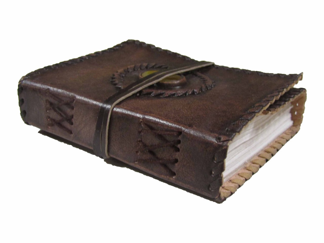 stitched leather journal with yellow stone centre piece embedding into cover - side angle