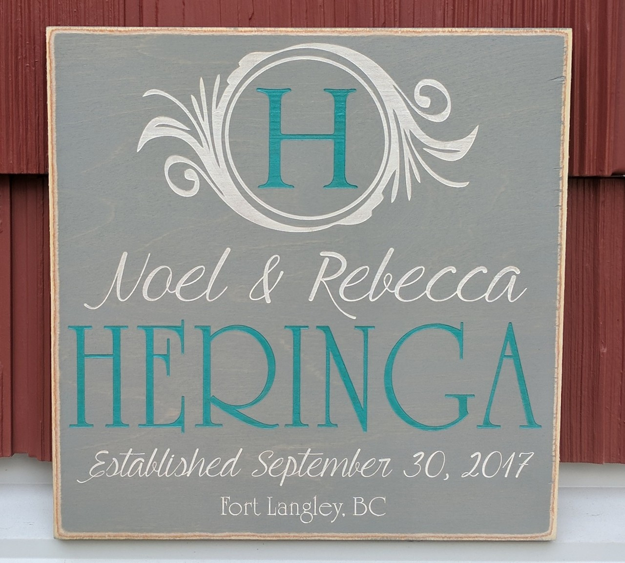 monogram family name sign