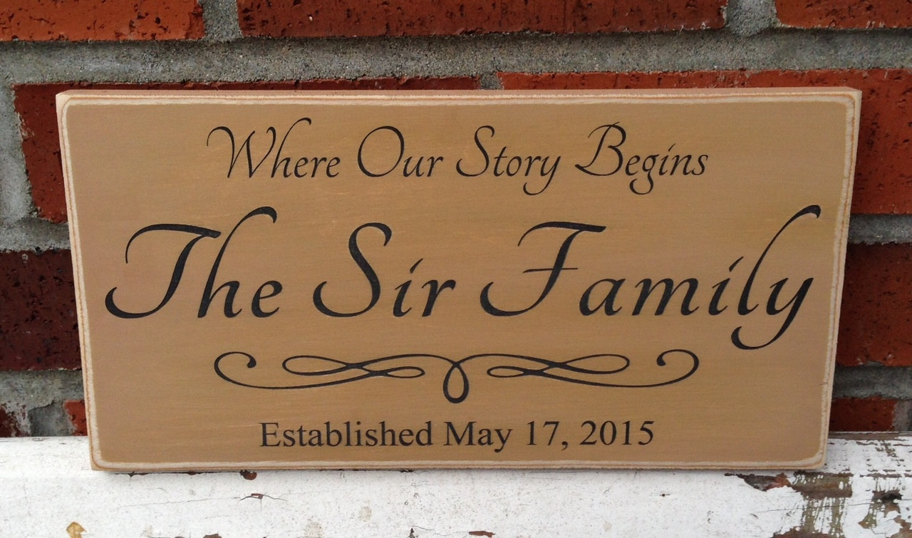 Where Our Story Begins Family Wood Sign