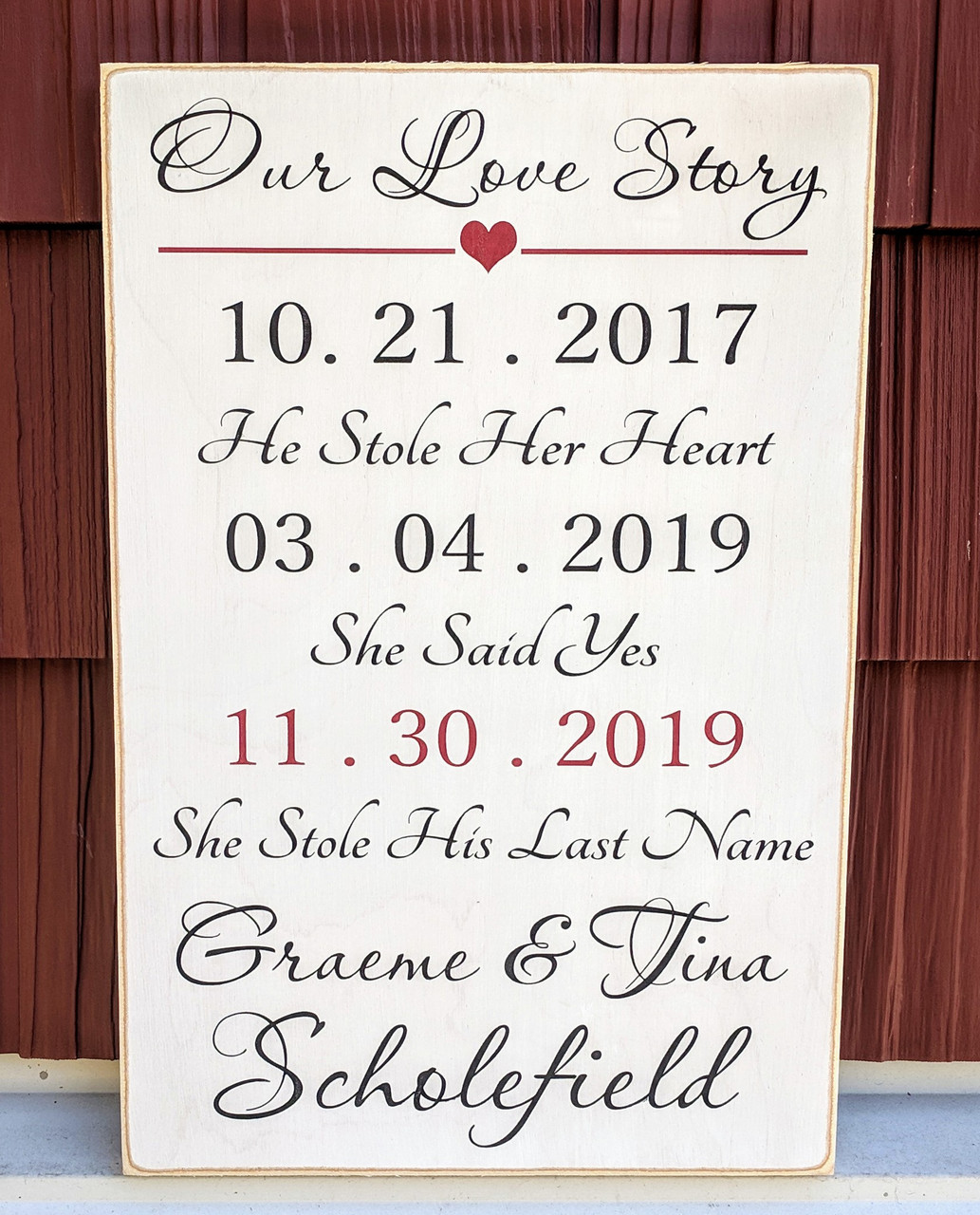Our Love Story Personalized Sign