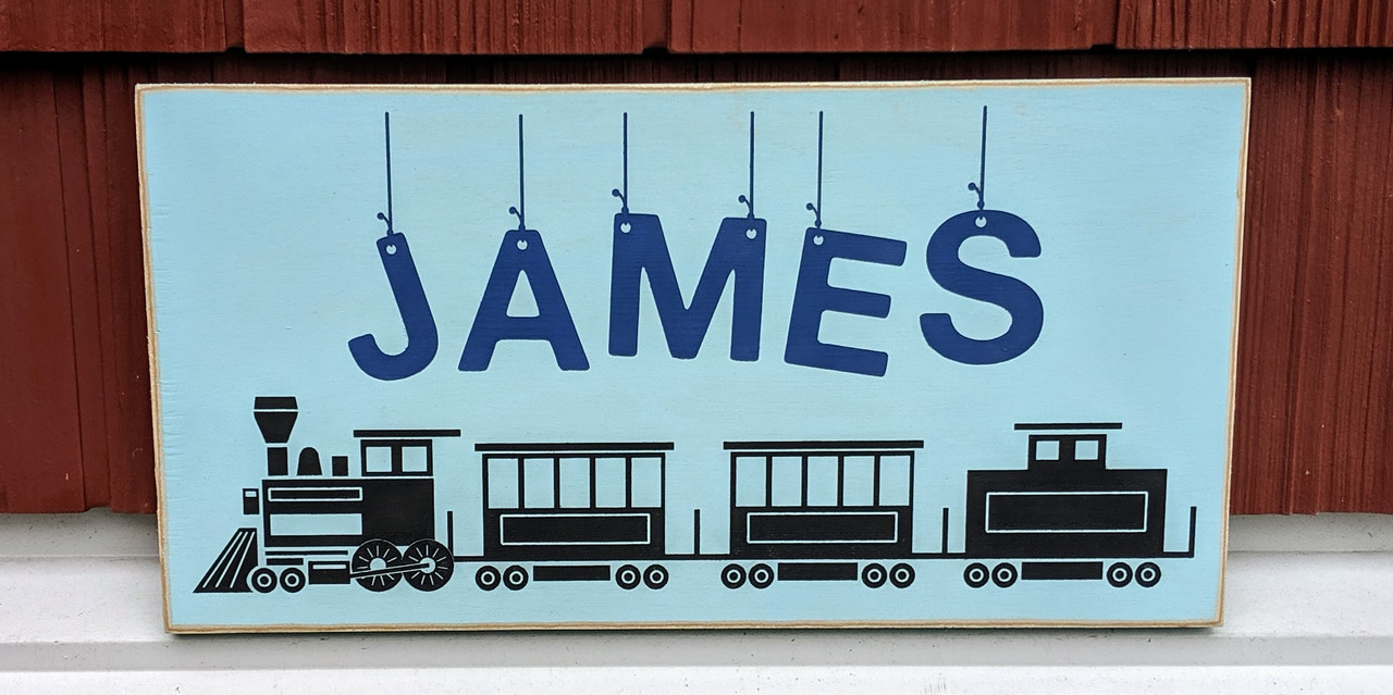 Personalized Name Sign for Child with Train
