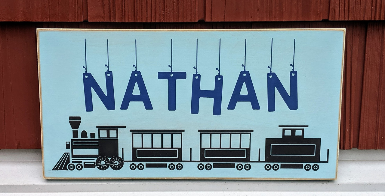 Personalized Kids Name Sign with Train