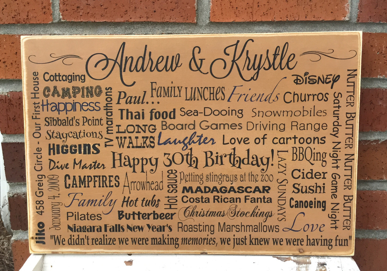 Personalized Family Memories Sign