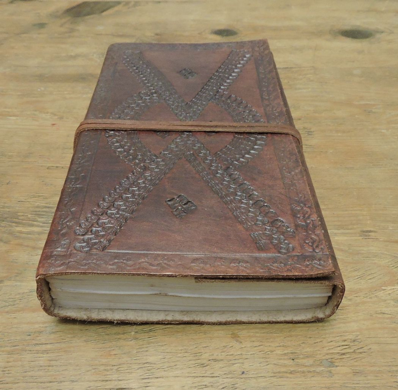 bottom view of leather journal - lined paper with embossing