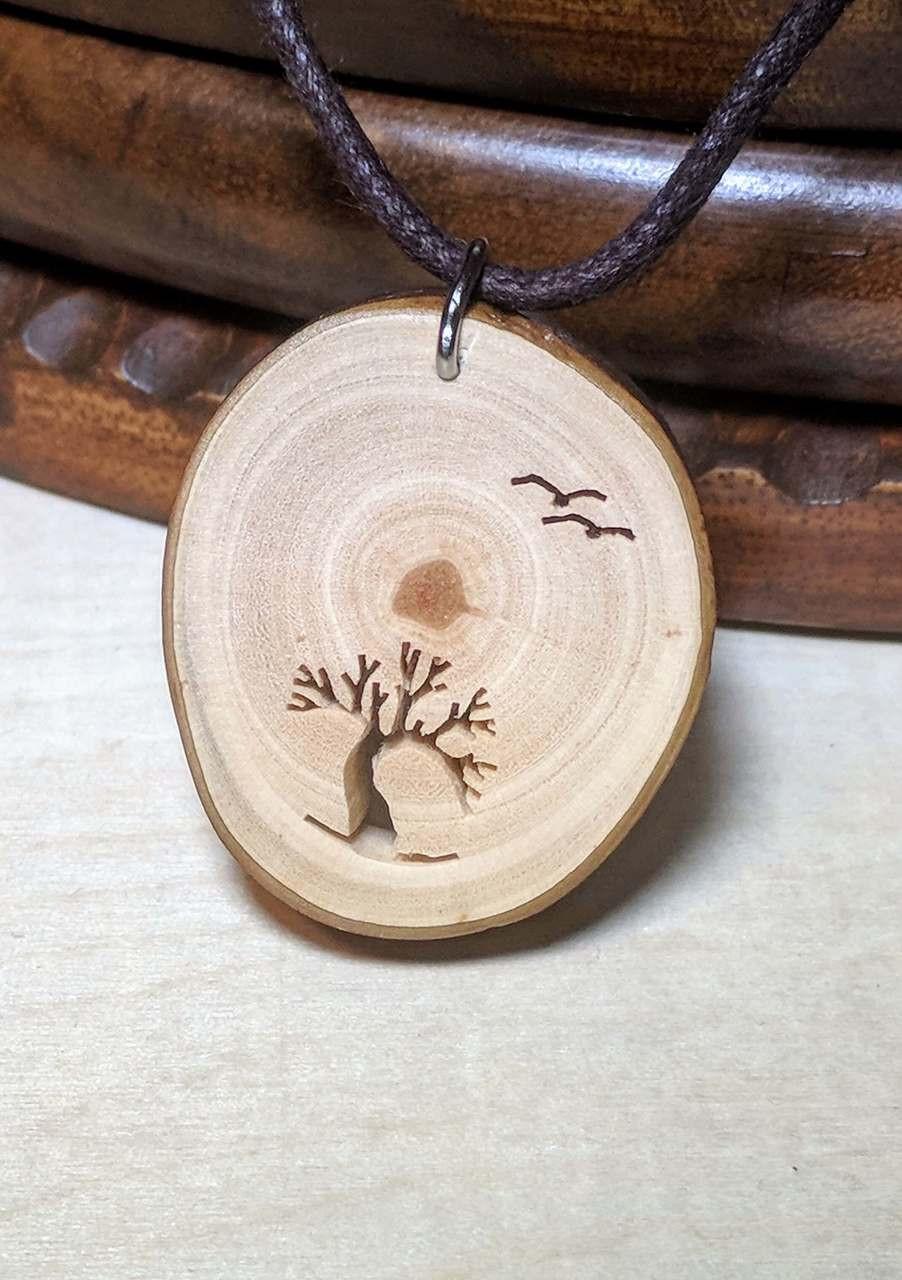 Rustic Wood Pendant - Windswept Arbutus With Birds Inspired