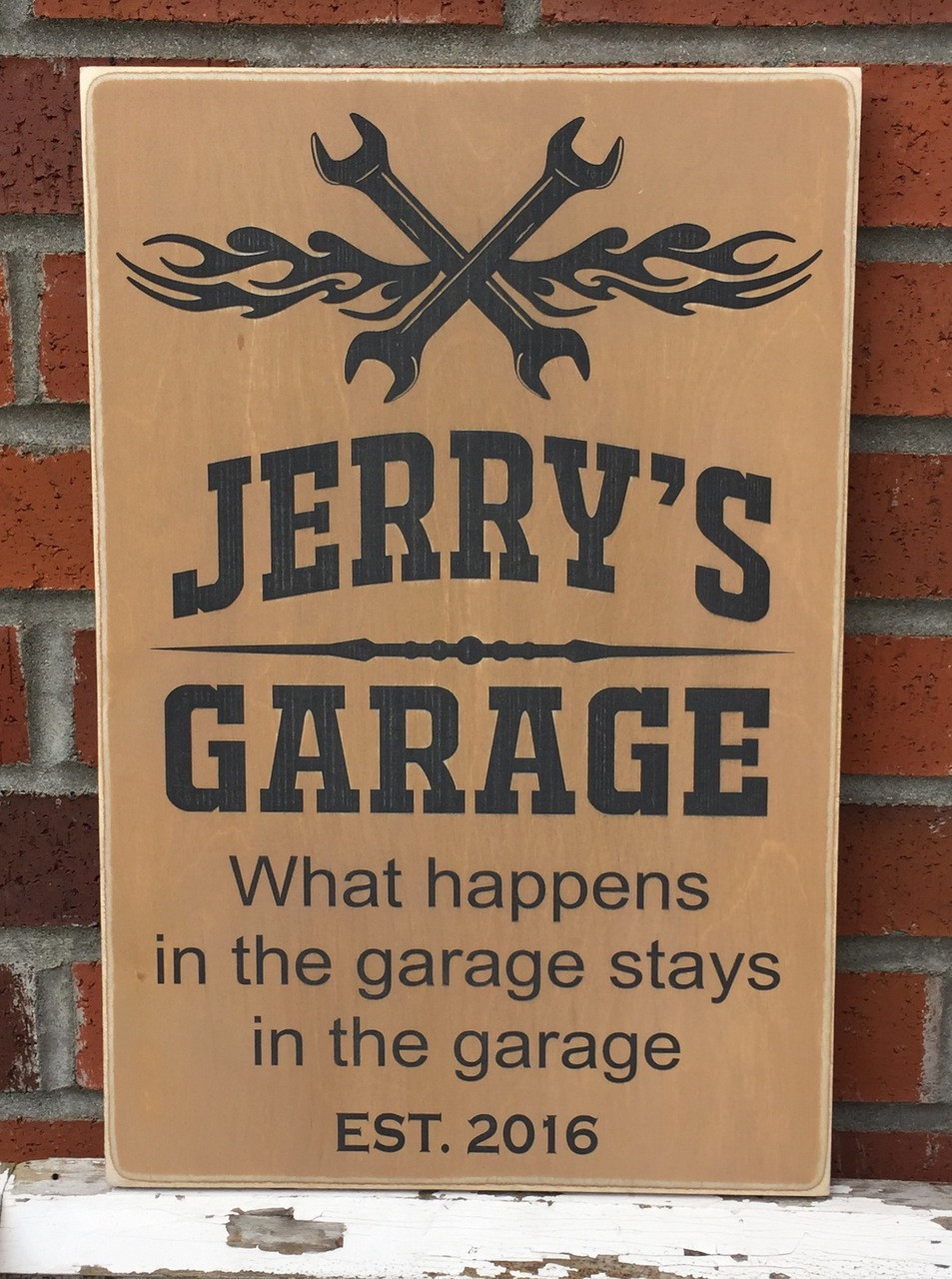 Garage Sign - custom wood sign with golden brown and black
