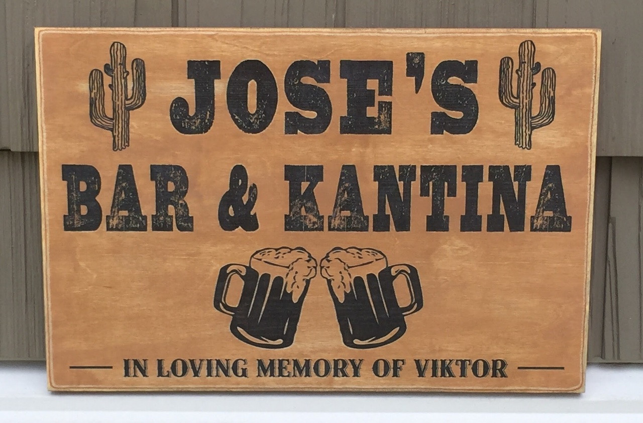 Personalized sign - Bar & Cantina - golden brown and black
