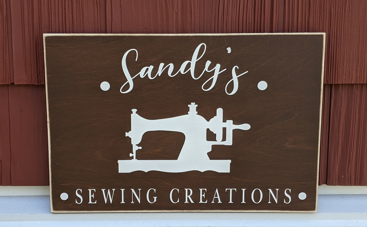 Custom sign - sewing room sign with espresso brown and white