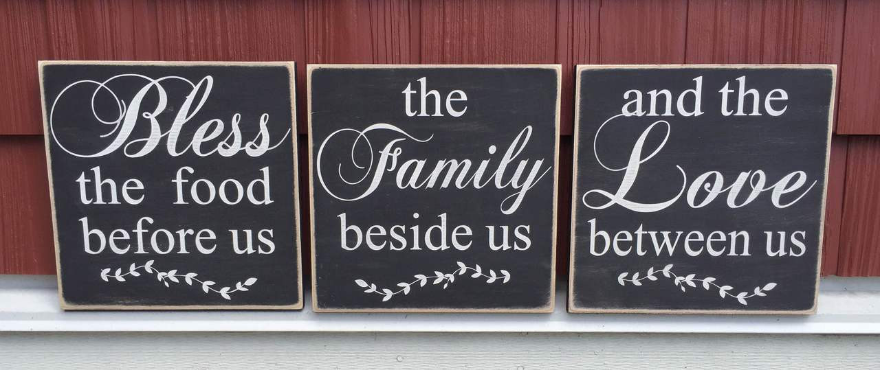 Bless, Family, Love - set of three signs