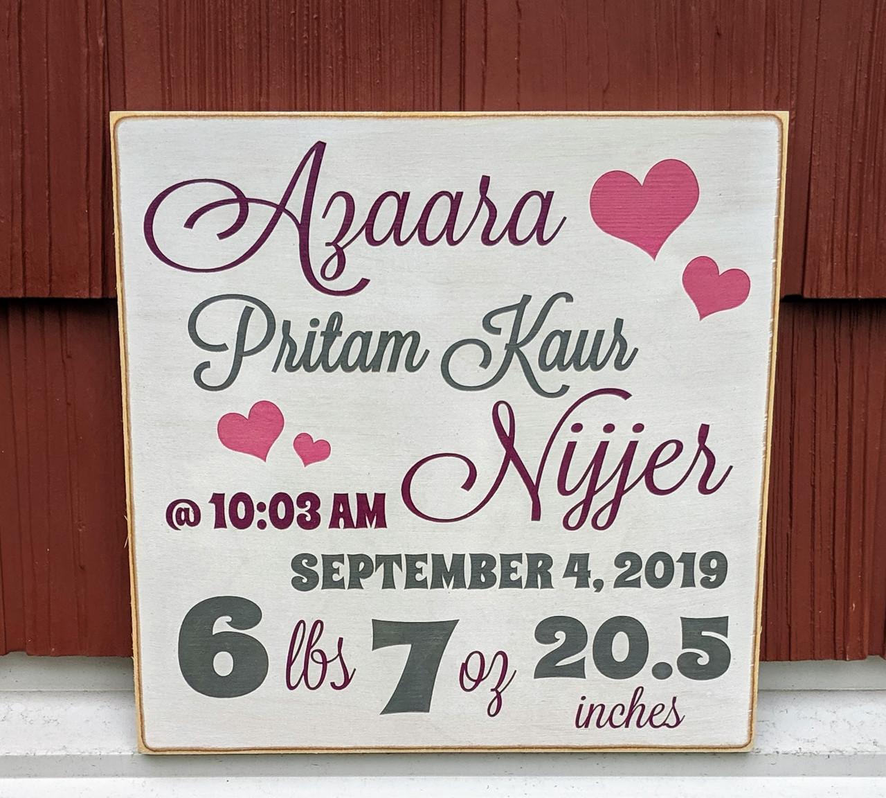 Baby birth stats wood sign