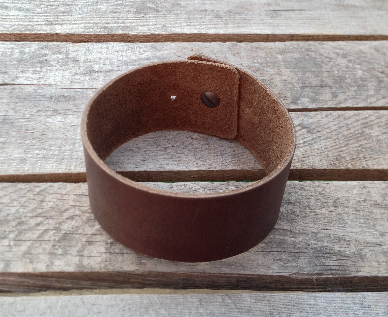 Wide leather wrist band