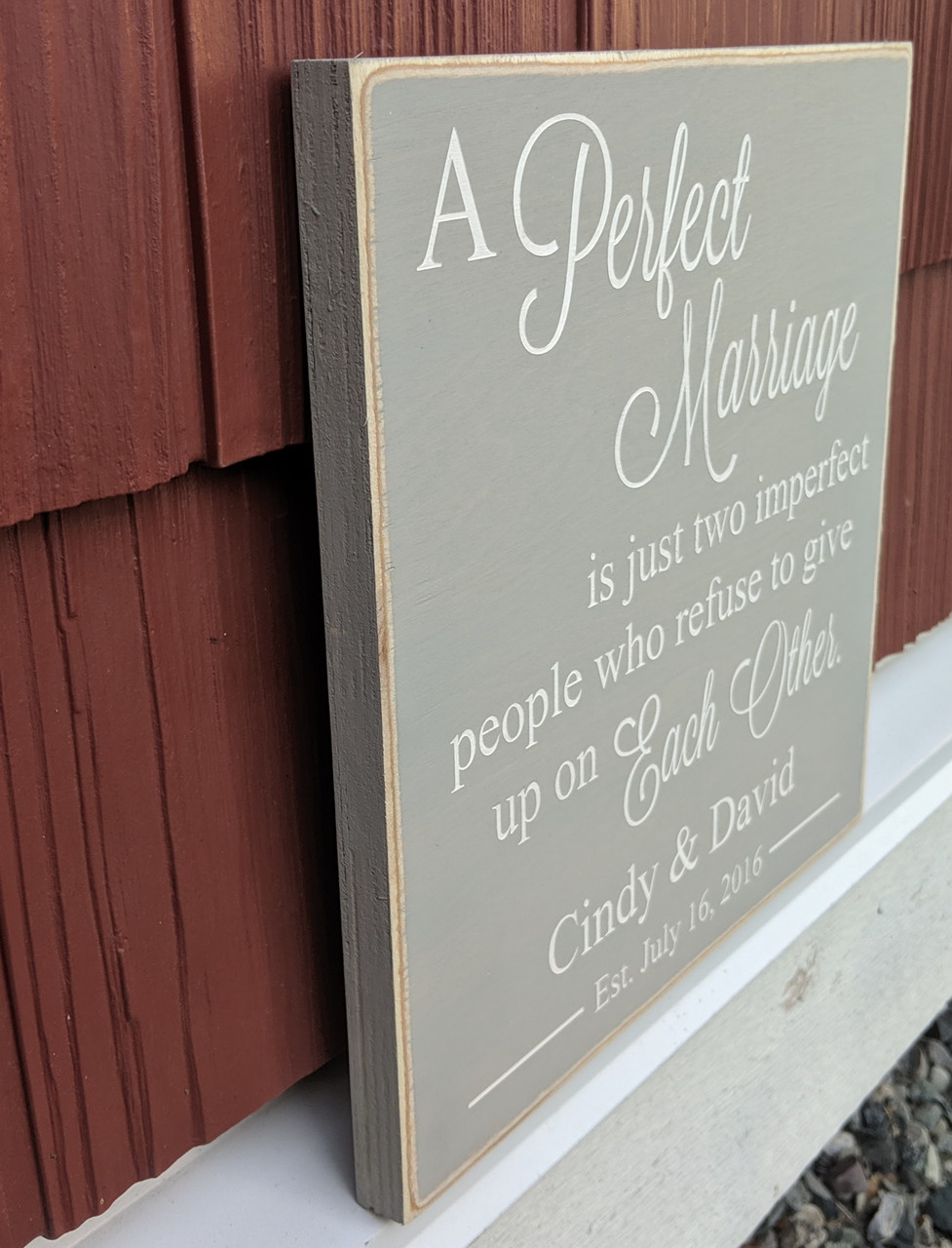 Side view - A Perfect Marriage Wood Sign