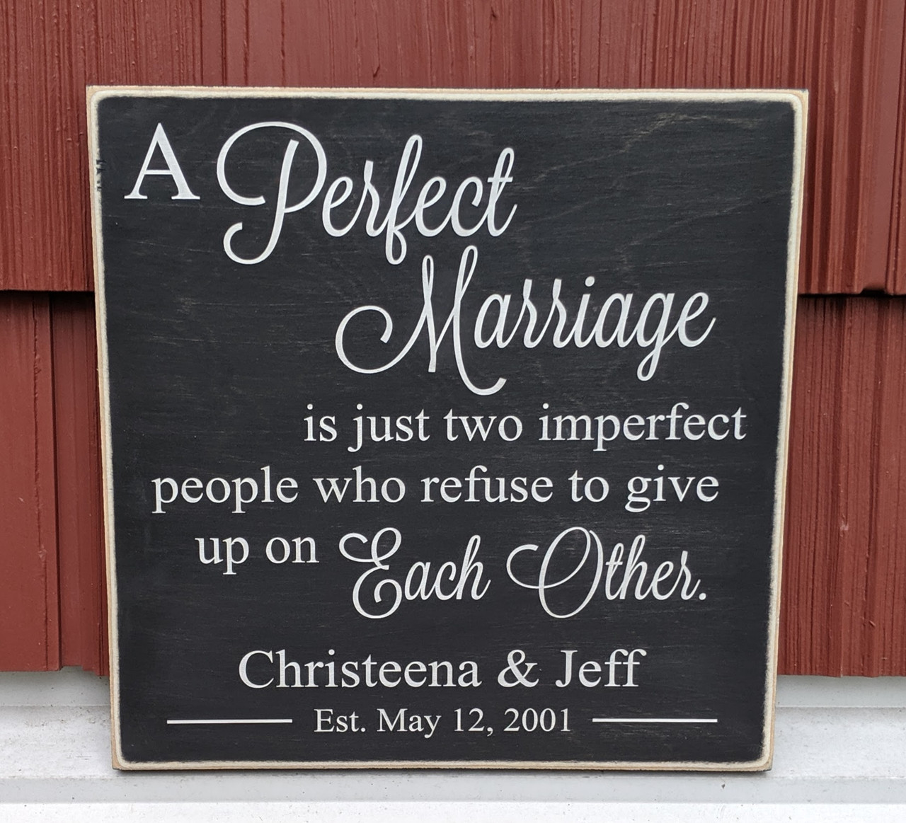 A Perfect Marriage Personalized Sign