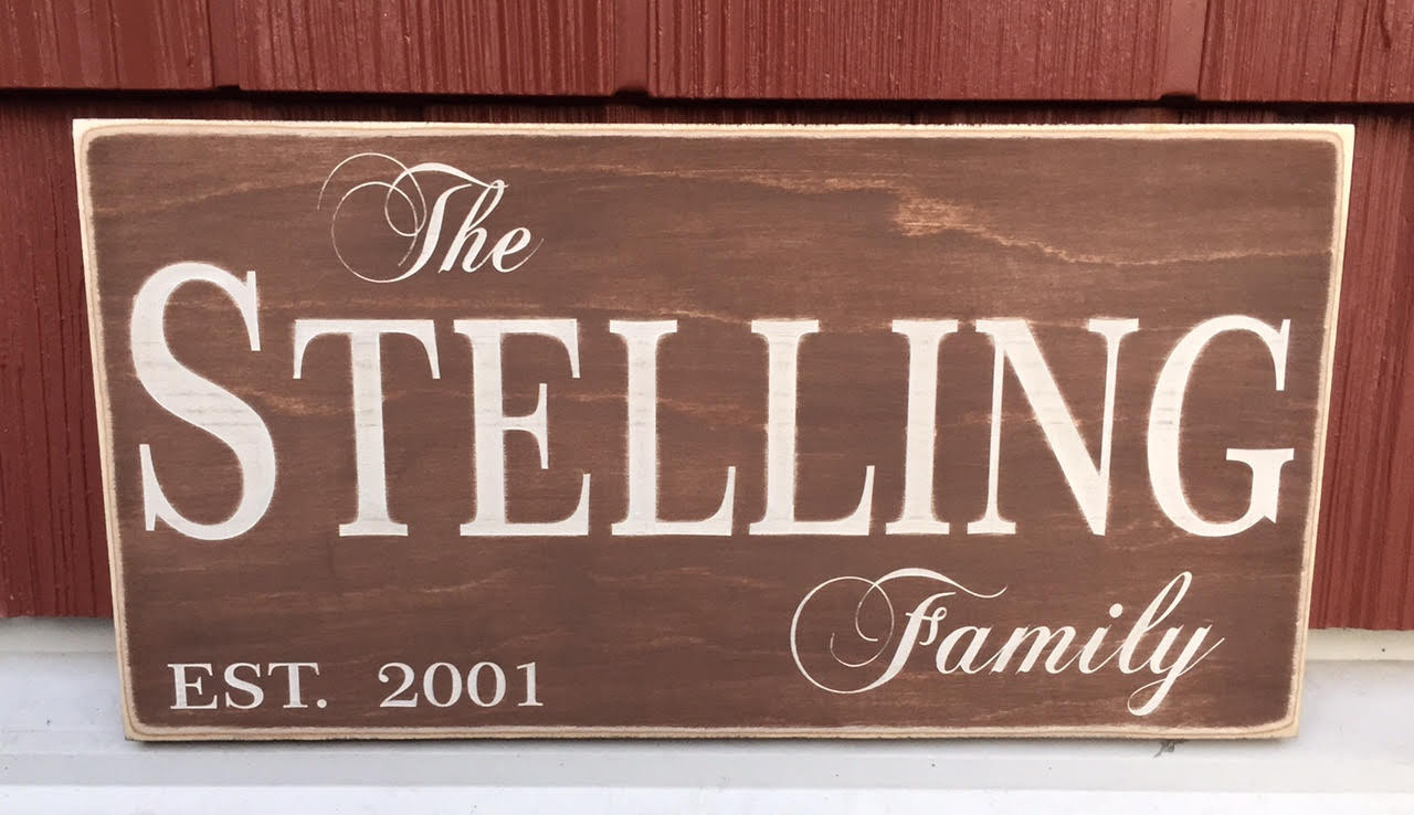 Family Name Establishment Wood Sign