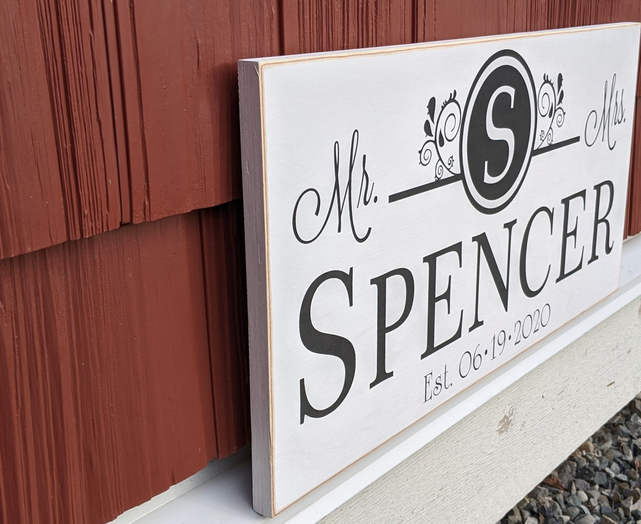 monogram newlywed sign with mr & mrs
