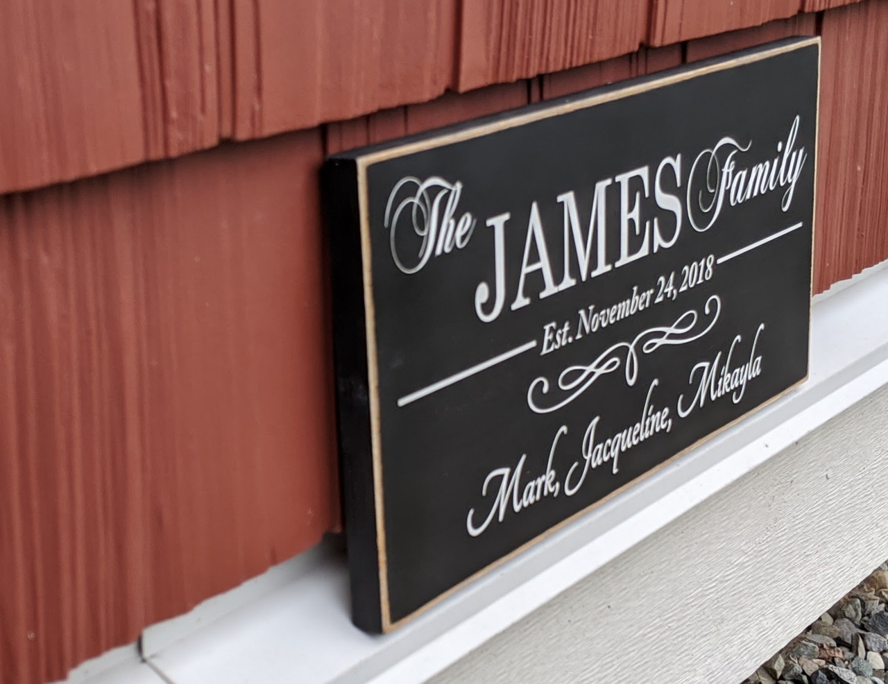Family Name Sign with Established Date and First Names - Side View