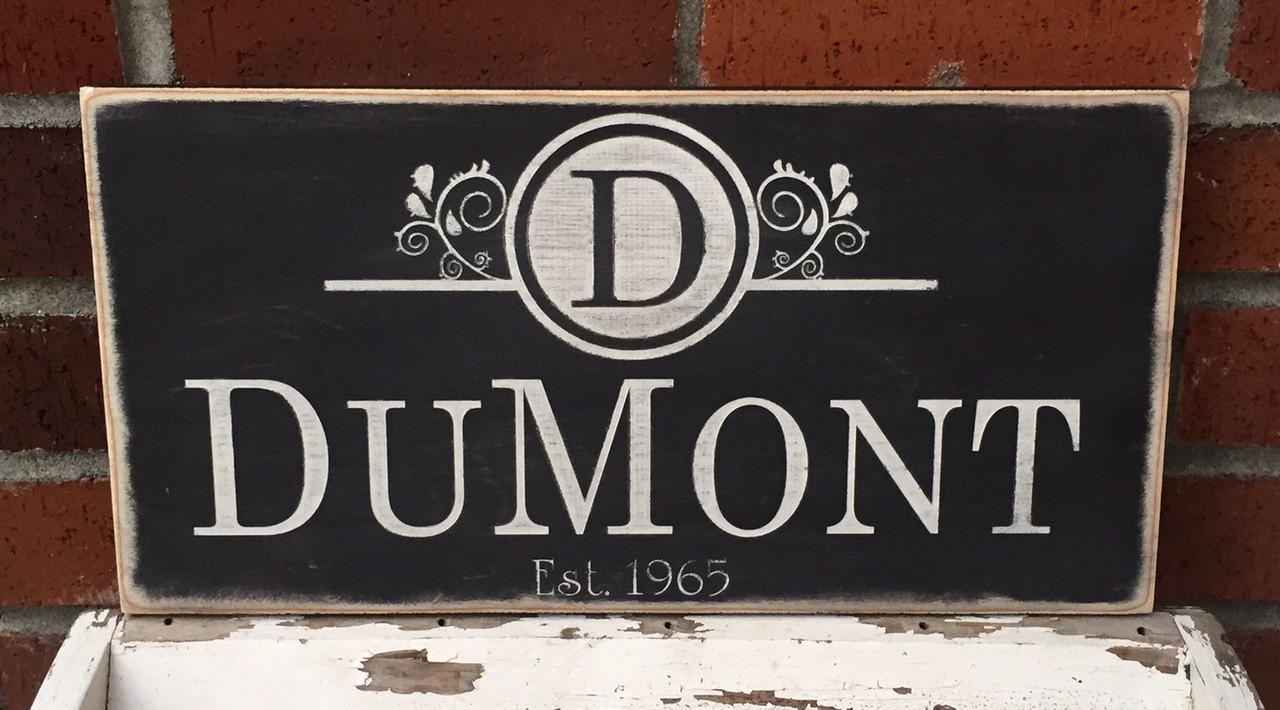 vintage family name sign
