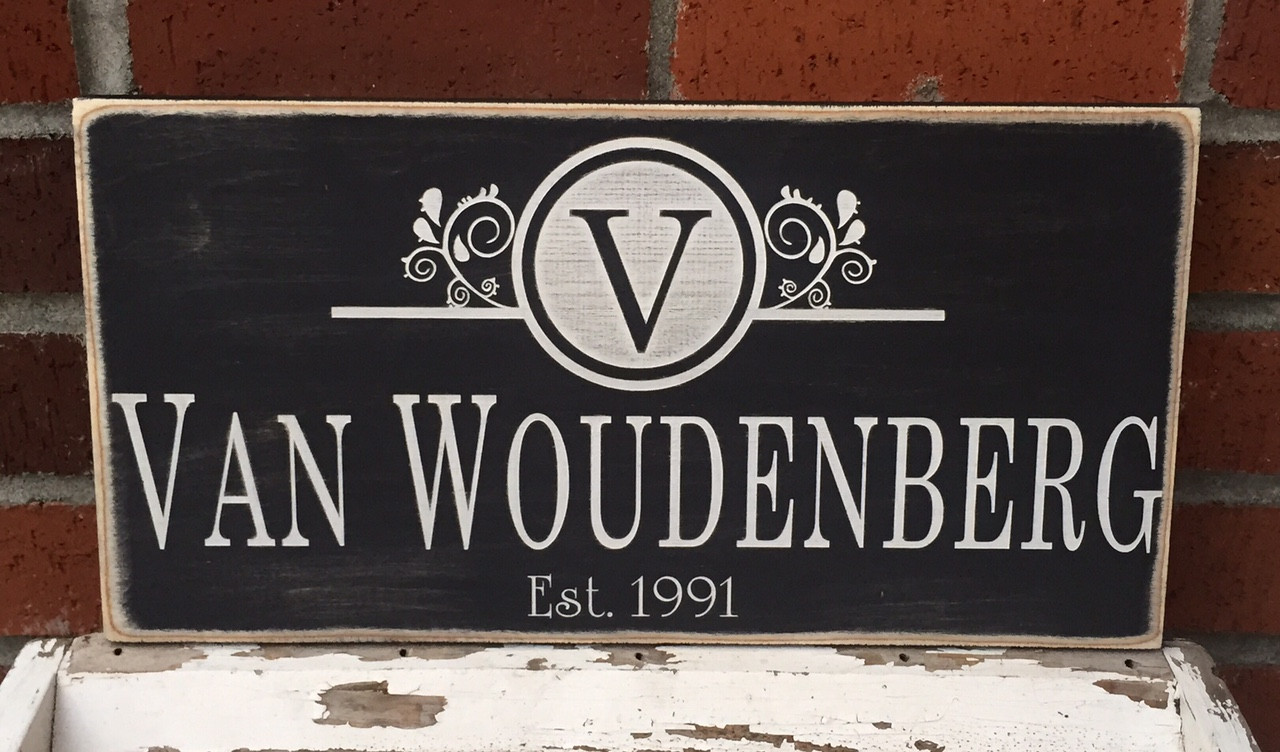 custom wood distressed family sign