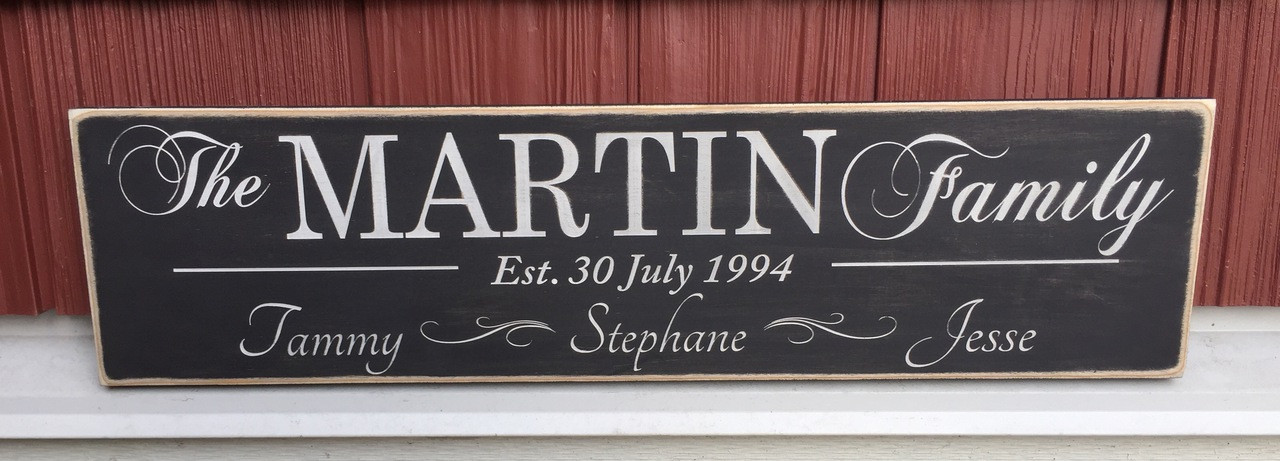 Custom Shabby Chic Country Family Name Sign