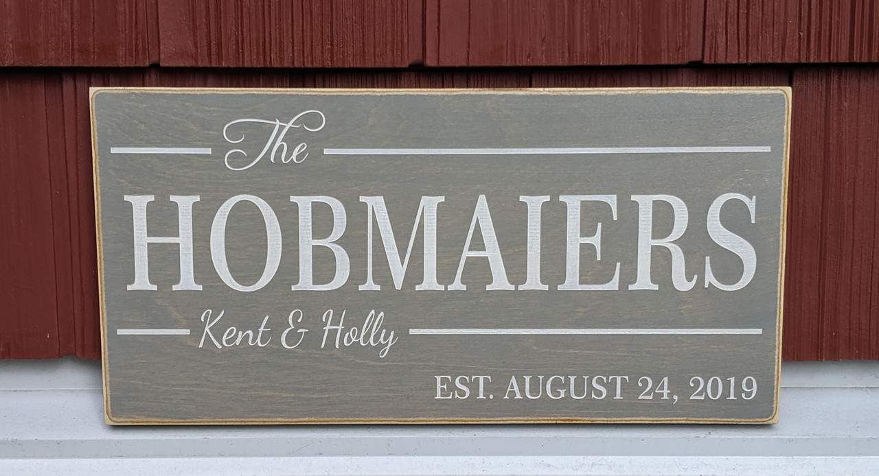 Family Last Name Sign with First Names and Established Date