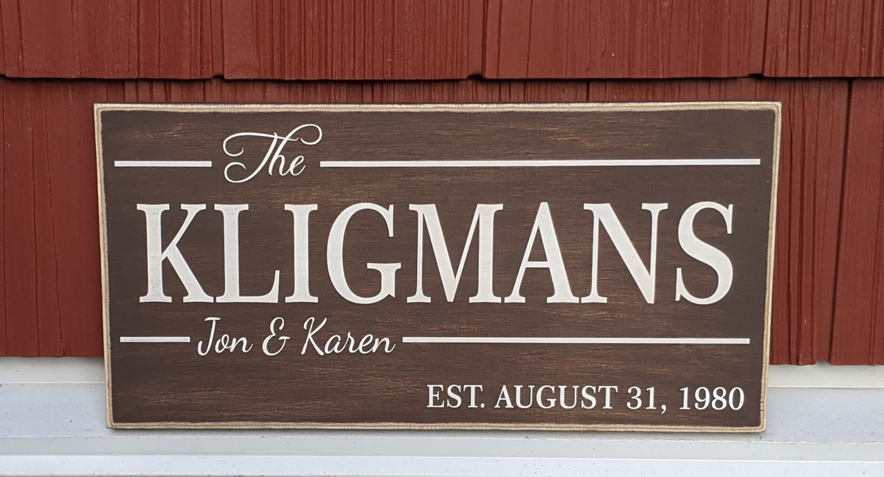 Personalized Family Sign with Couple's Names and Established Date