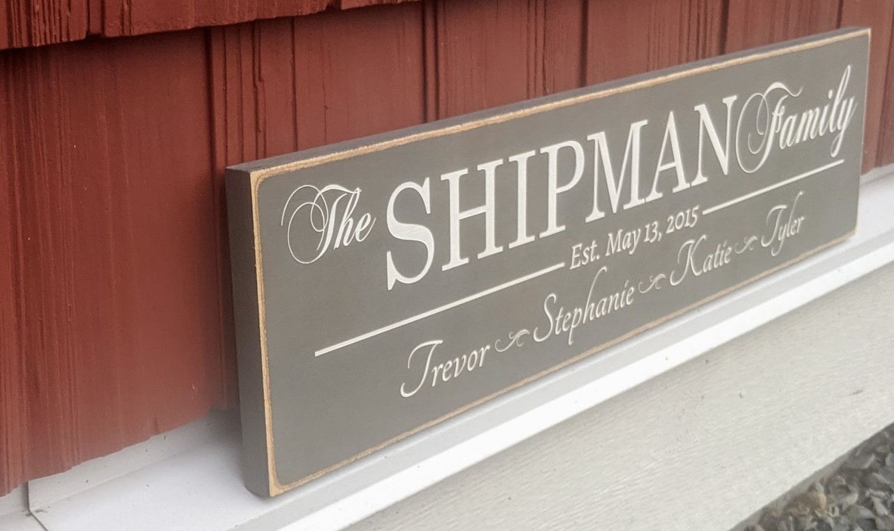 Personalized wood family sign