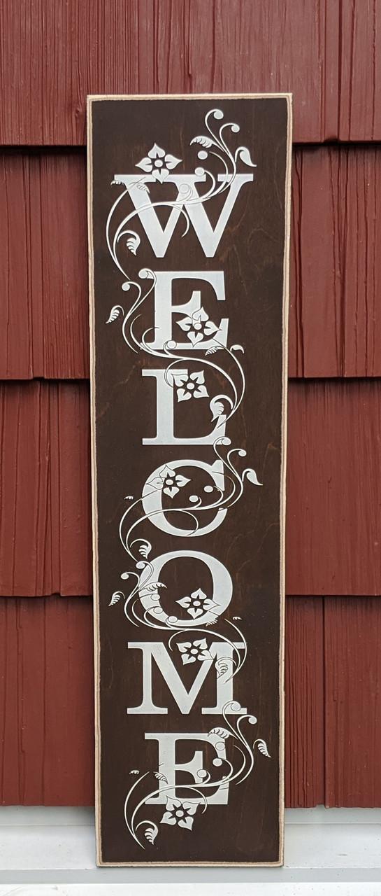 Welcome sign for front door - Brown