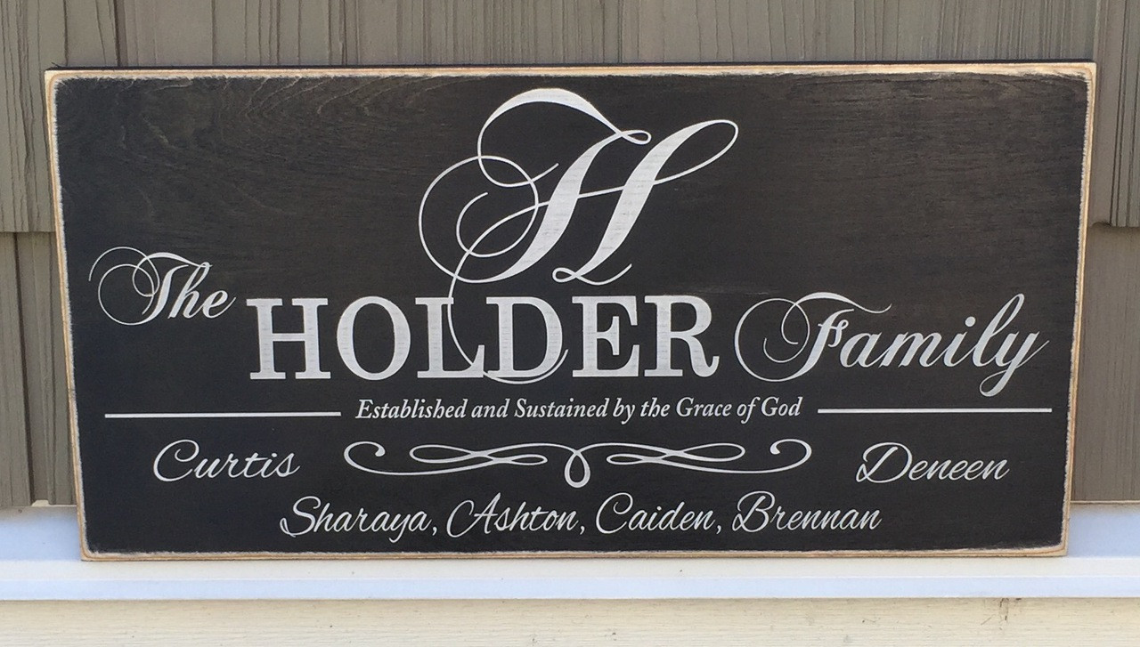 Family Wood Sign with Monogram