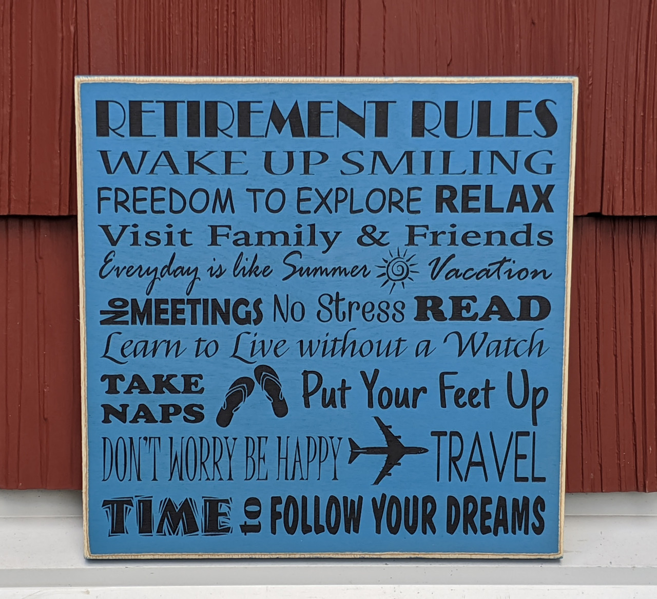 Retirement Rules Sign with blue jean background