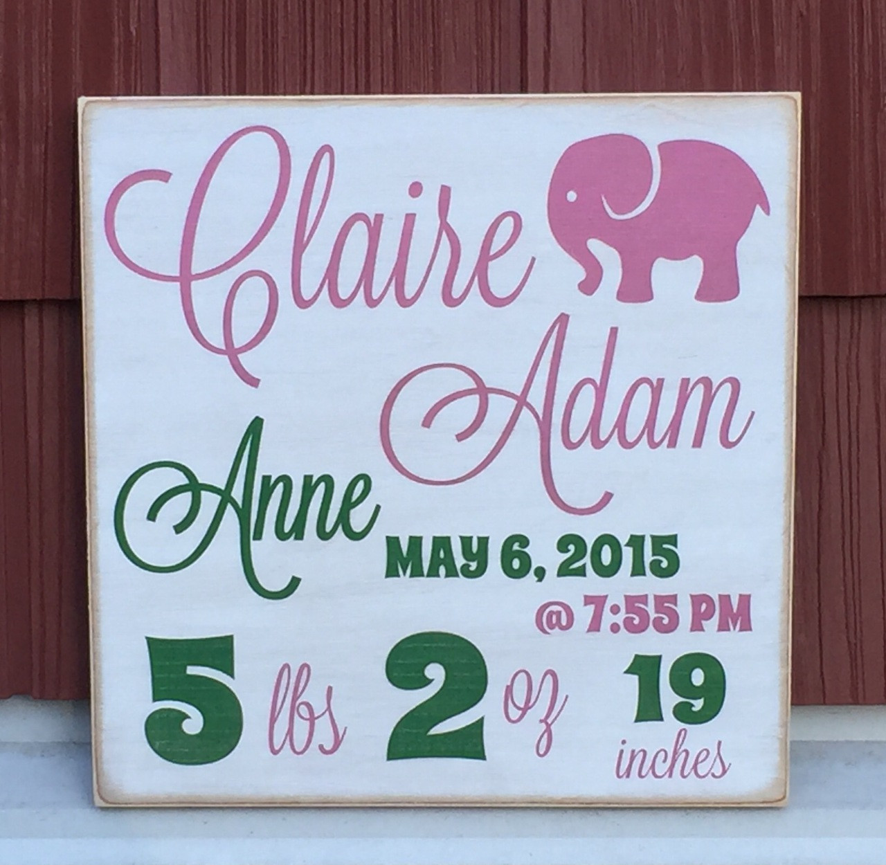 baby girl birth sign wall plaque - handcrafted