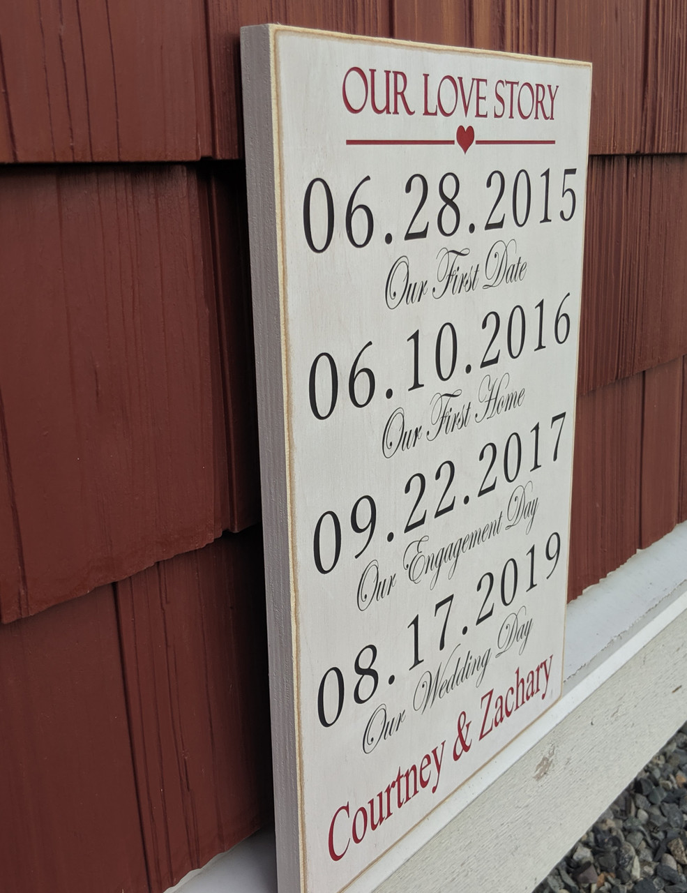 side view of Our Love Story Sign