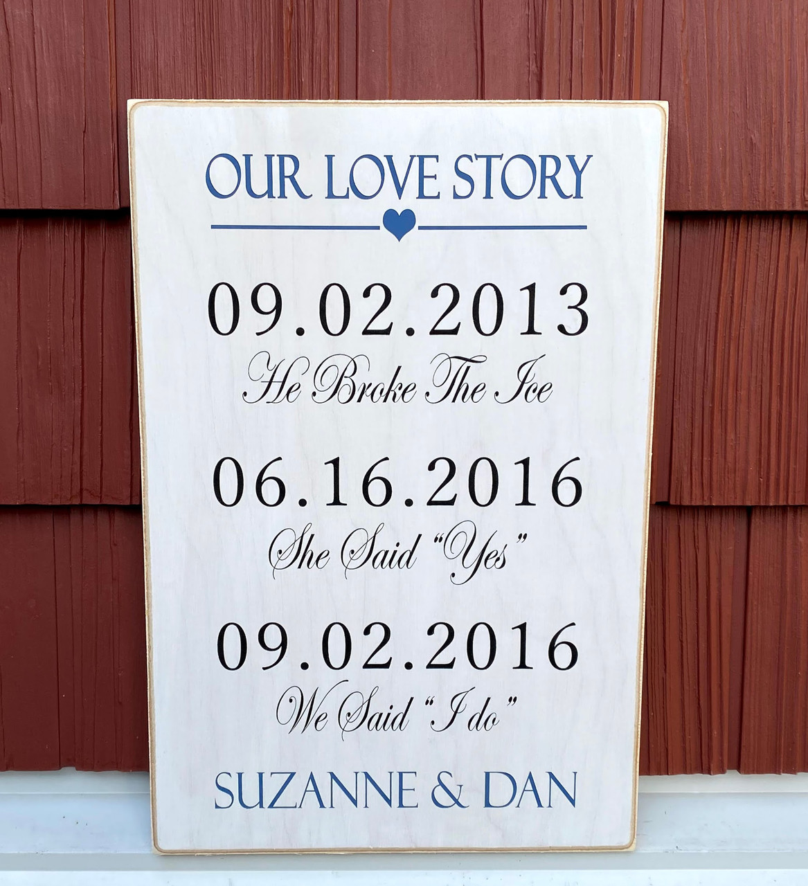 personalized our love story sign