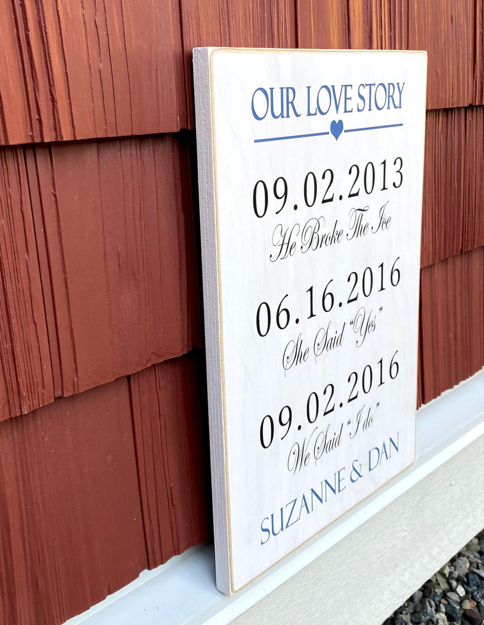 custom our love story sign