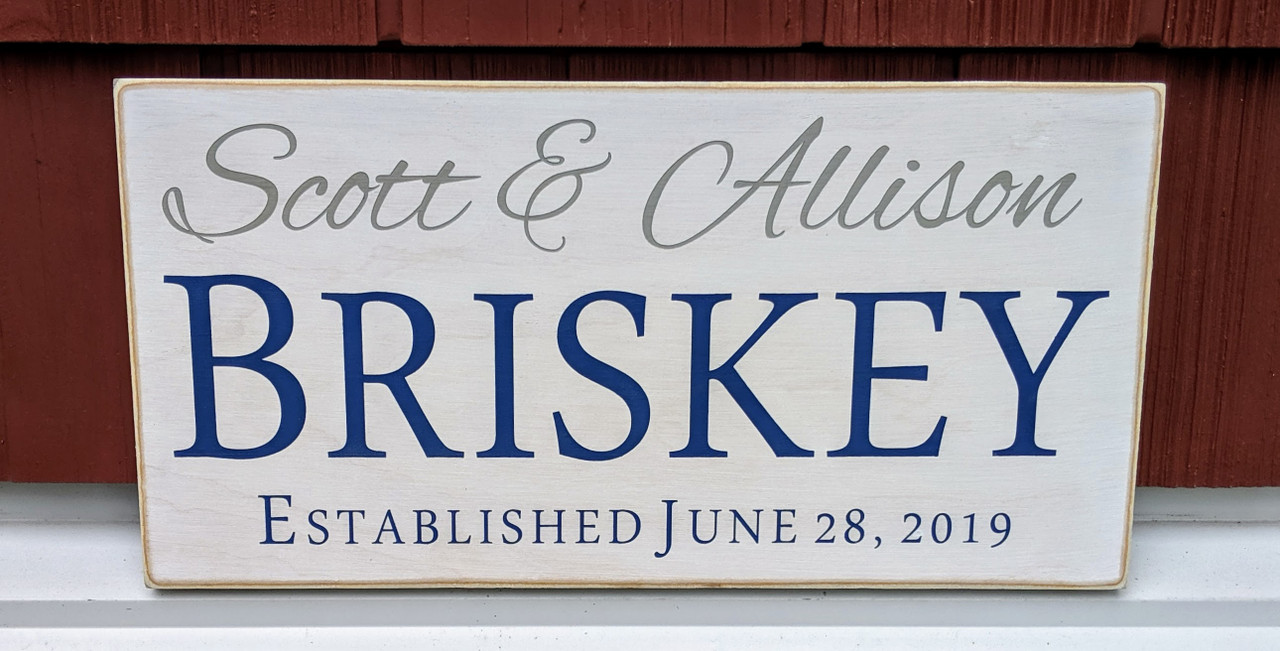Family sign with first and last names and established date