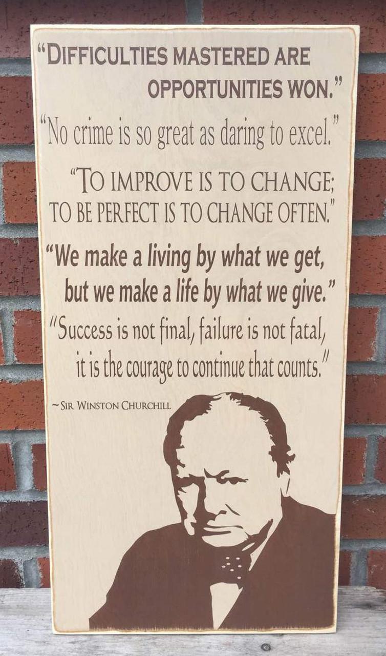 Winston Churchill Quote Sign
