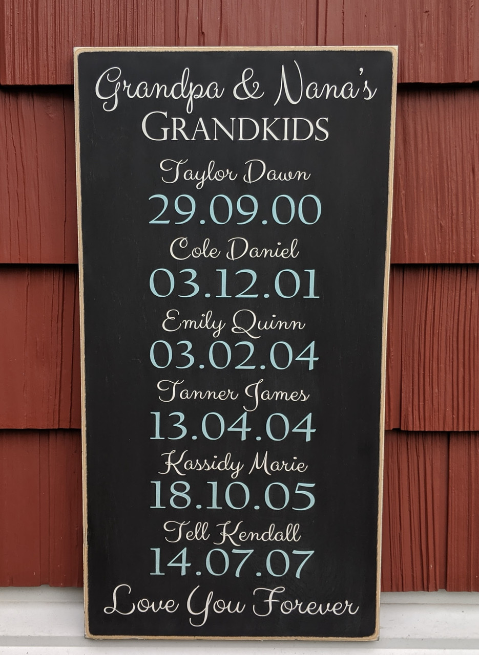 Grandkids with Birth dates Wood Sign
