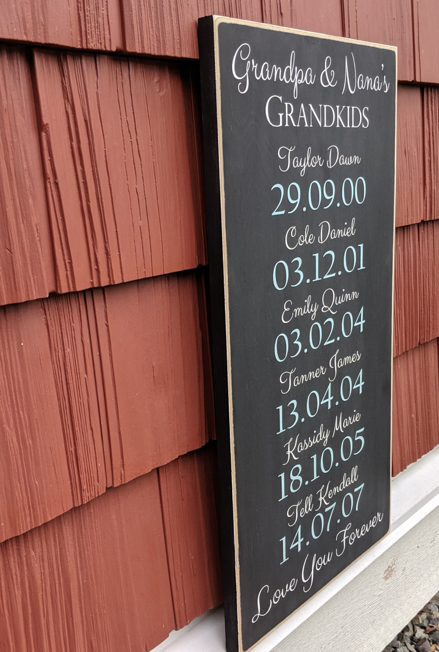 Grandkids with Birth dates Wood Sign side view