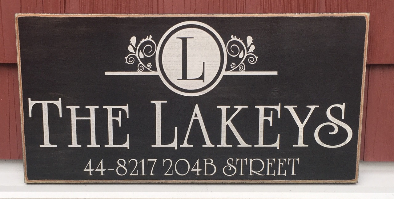 Monogram Family Sign with Address