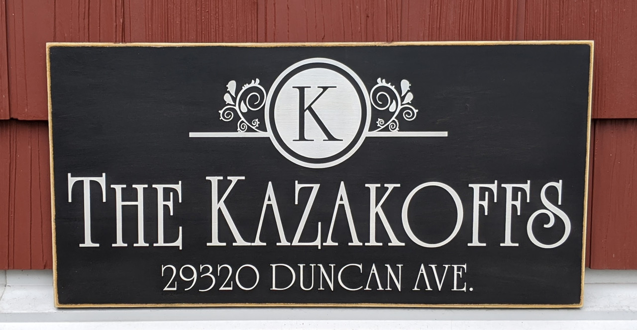 Family Address Sign with Monogram