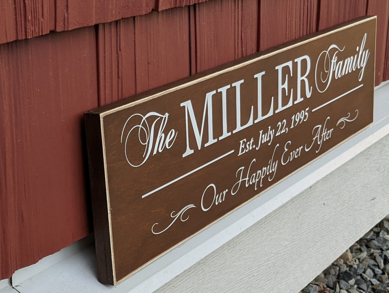 Our happily ever after personalized family sign