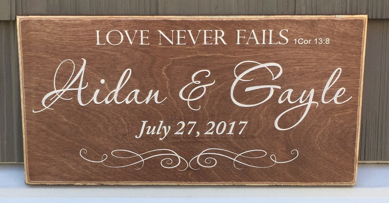 Love Never Fails Personalized Sign with Establishment Date