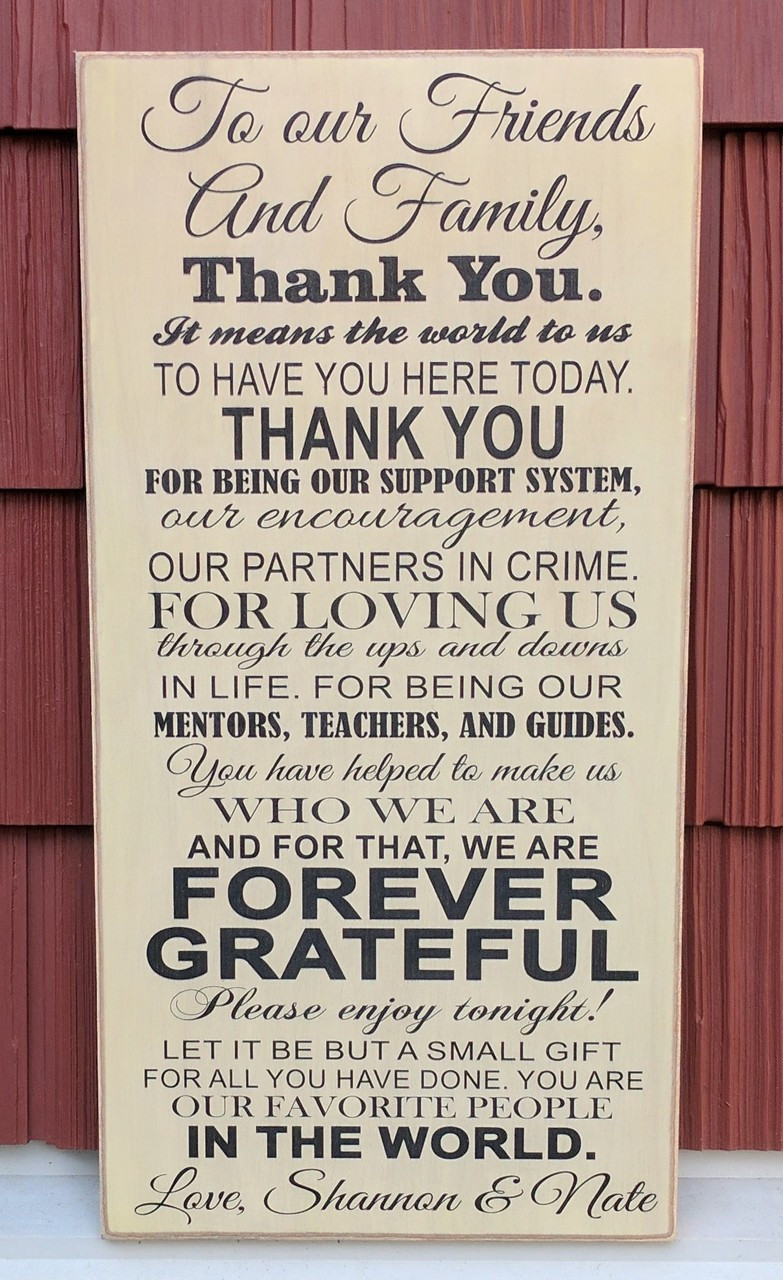 Thank you sign to friends and family