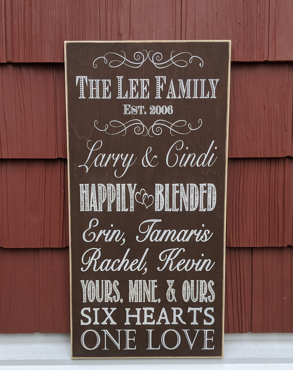 Happily Blended Family Personalized Family Sign