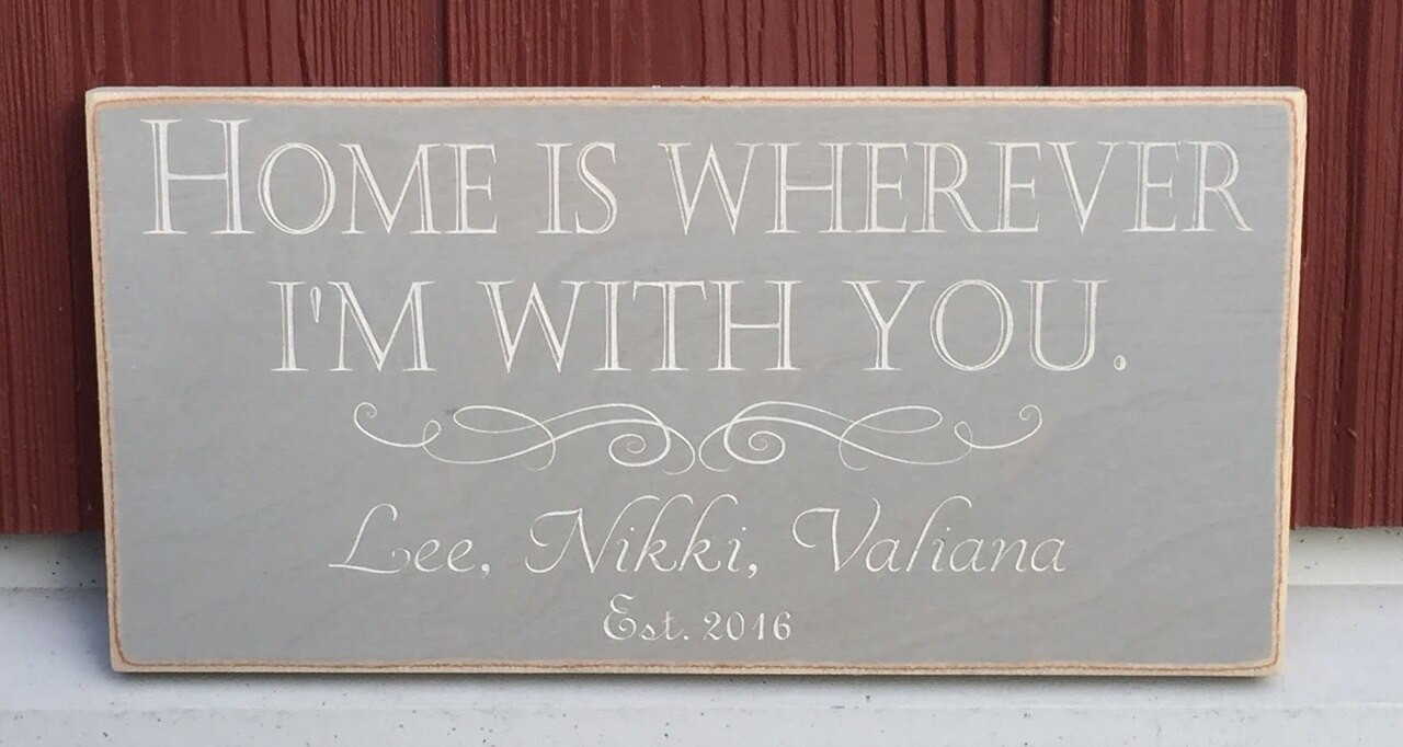 Home Is Wherever I'm With You personalized name sign