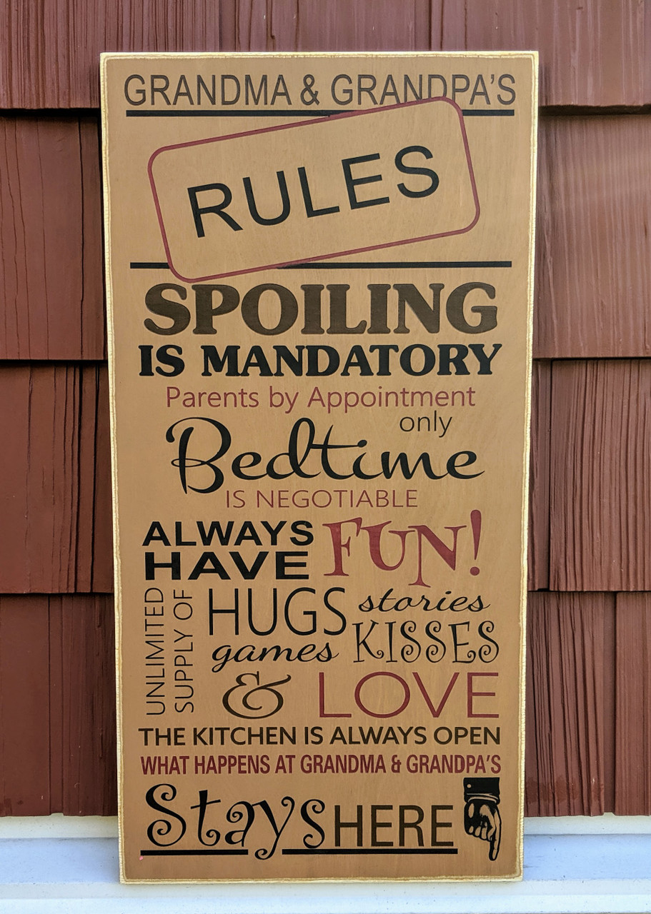 Grandma and Grandpa's Rules Wood Sign