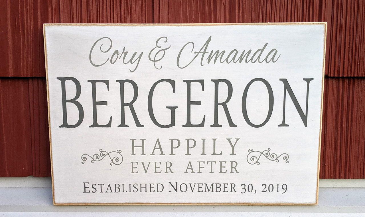 Happily Ever After Custom Family Name Sign