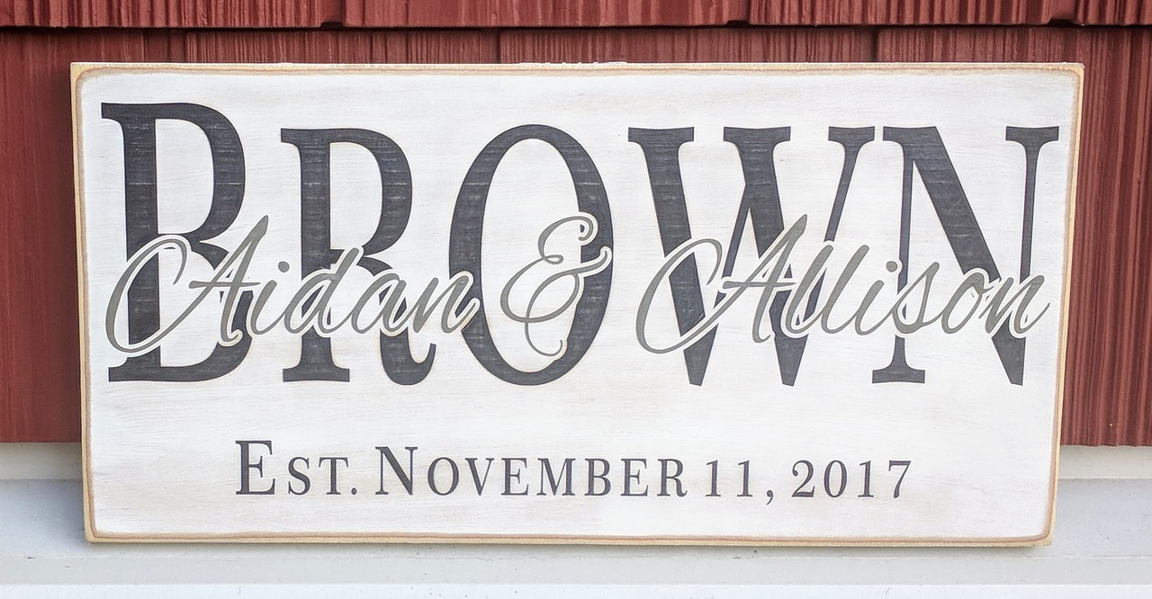 Custom family sign with established date