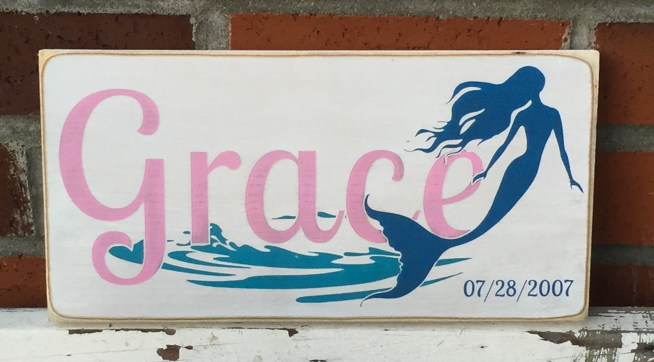 Little Girl Mermaid Name Sign